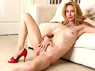 high heels, blonde, masturbation, milf, red head, small tits
